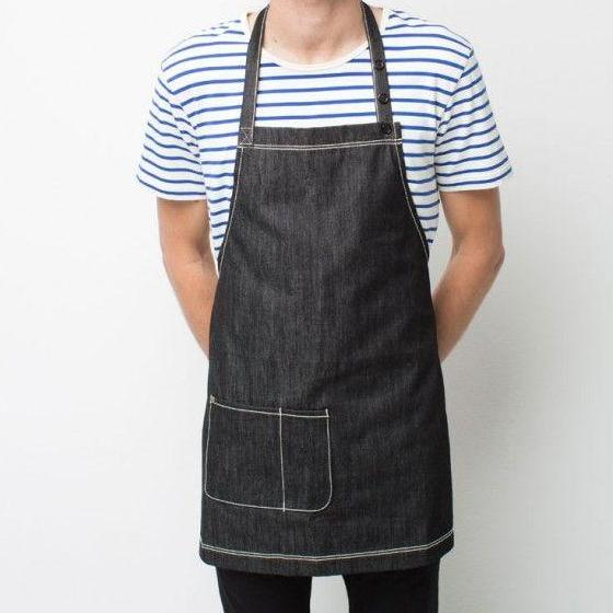 Black denim cafe bib apron