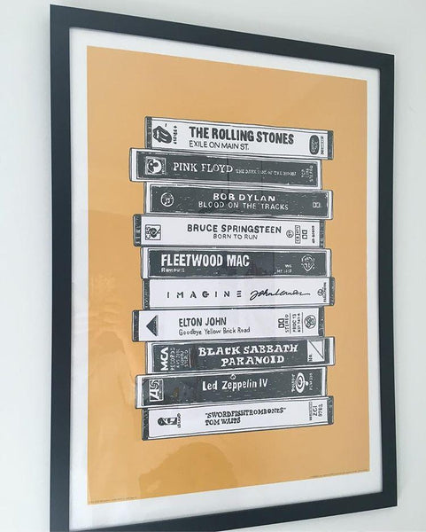 Classic rock cassette tape poster print