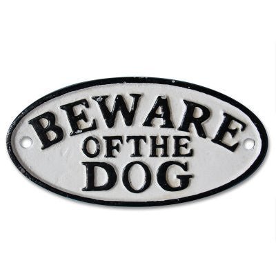 Beware Dog cast iron vintage wall hanging sign