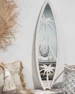 Load image into Gallery viewer, Metal surfboard palm trees mirror wall hanging