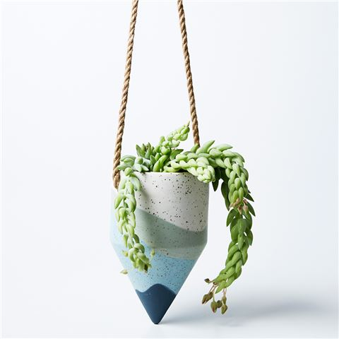 Blues hand painted hanging planter pot