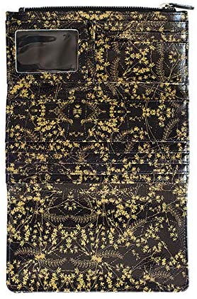 Gold and white or black floral trifold purse / wallet