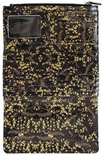 Load image into Gallery viewer, Gold and white or black floral trifold purse / wallet