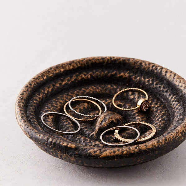 Vintage cast iron coiled serpent snake trinket dish