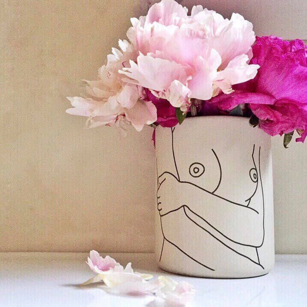 Life drawing / hand painted nude woman / boob vase planter pot - preorder
