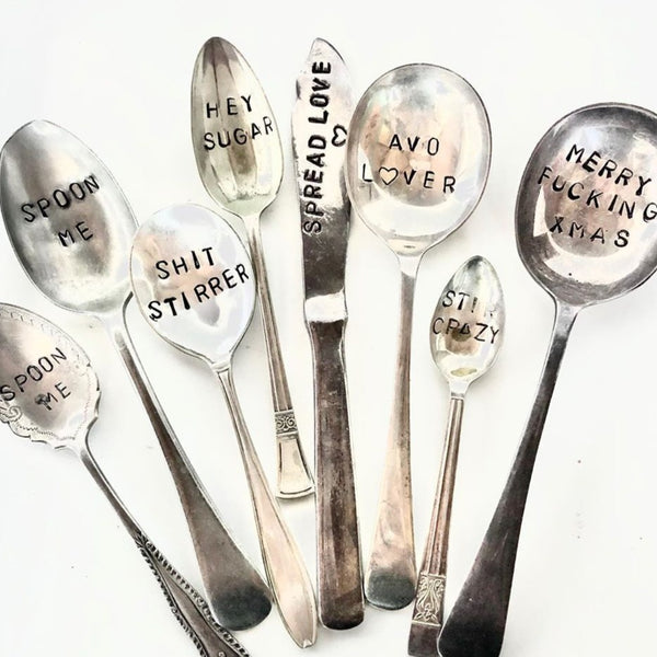 Custom made hand stamped vintage silver cutlery