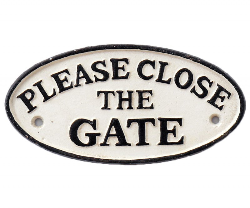 Please close gate cast iron vintage wall hanging sign
