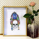 Load image into Gallery viewer, Indian chief feather crown skull print - Six Things - 1