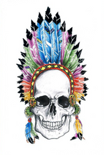 Load image into Gallery viewer, Indian chief feather crown skull print - Six Things - 2