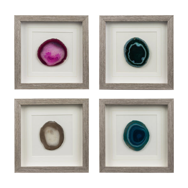 Framed agate crystal slice wall hanging - 30cm