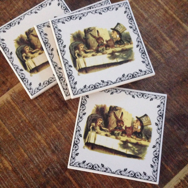 Mad Hatter tea party Alice in wonderland coaster - Six Things