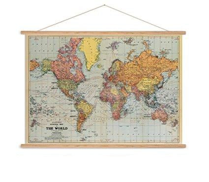 Stanfords world map vintage chart poster print - Six Things