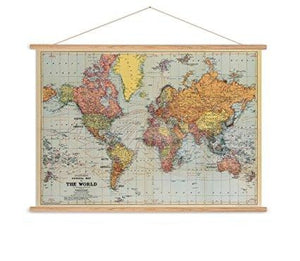 Stanfords world map vintage chart poster print