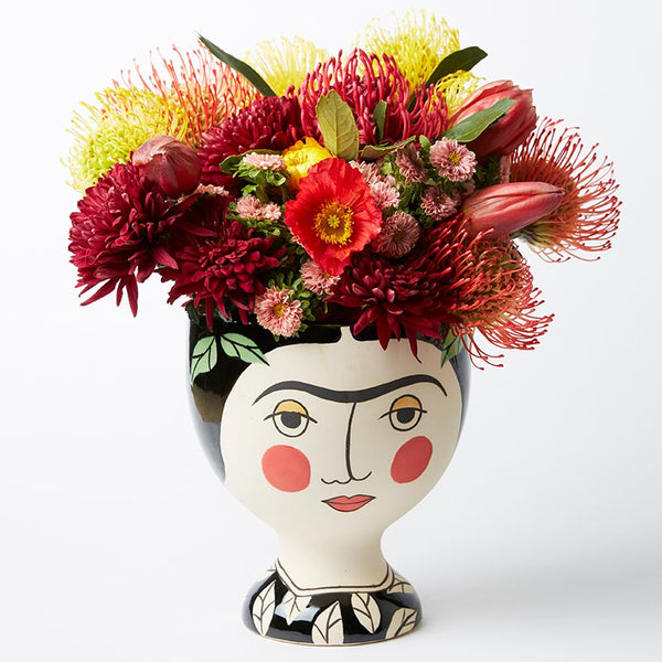 Boho Frida hand painted vase planter pot LARGE - preorder