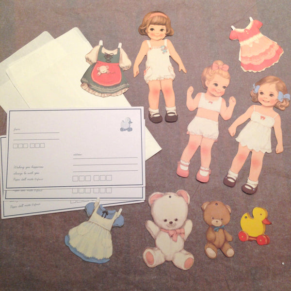 Vintage style cute paper doll mate stationery - Six Things - 4