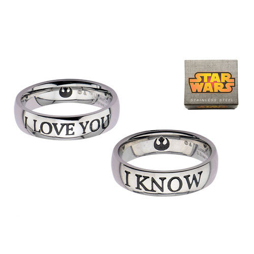 Star Wars I Love You / I Know silver ring set - Six Things
