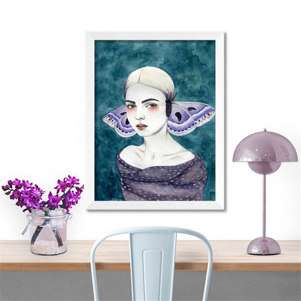 Violet papilio butterfly lady poster print