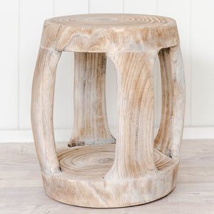 Carved wooden stool / side table