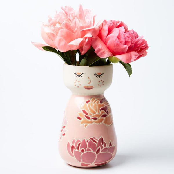 Pretty in Pink / Molly hand painted vase planter pot - preorder