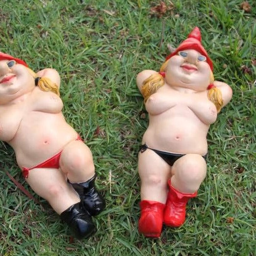 Naughty fun pool / nudie garden gnome statue