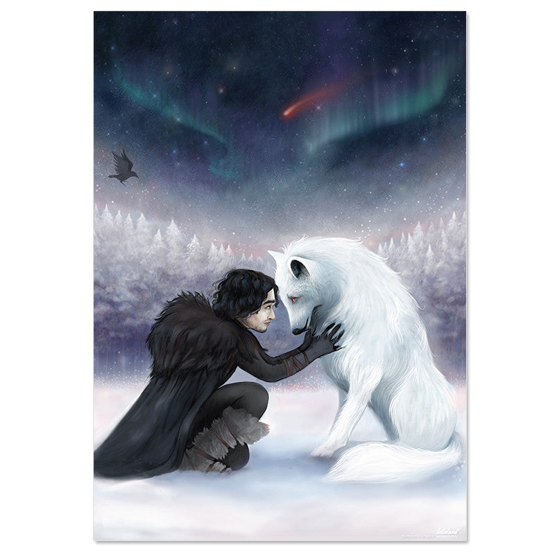 Game of thrones movie Jon snow & wolf poster - Six Things - 2