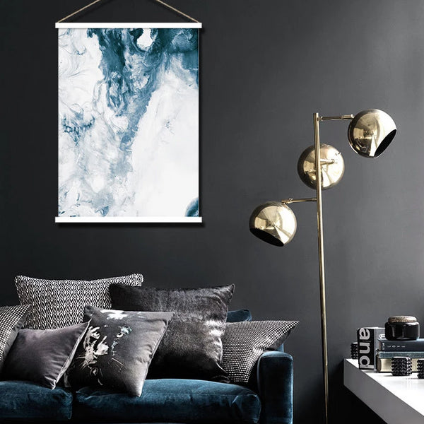Ocean blue watercolour abstract hanging scroll poster print