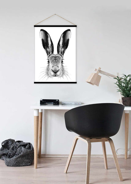 Bunny rabbit sketch hanging scroll poster print