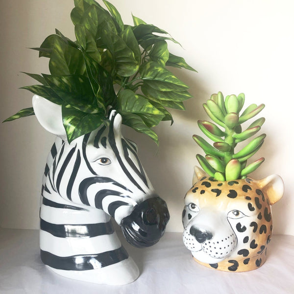 Hand painted Leopard vase / planter pot