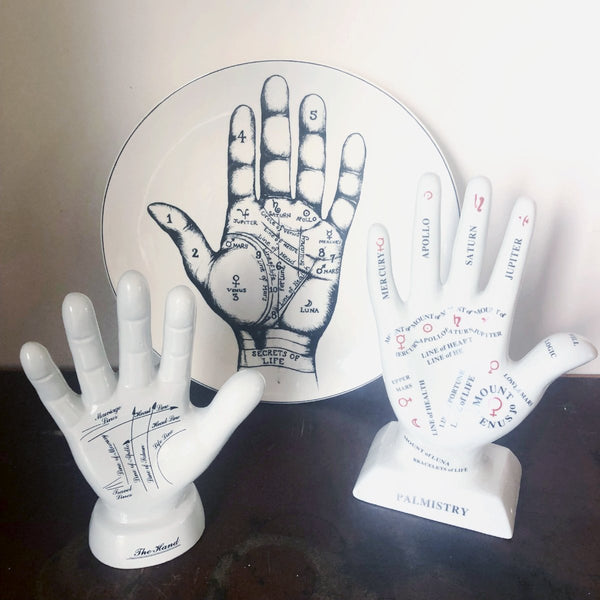 Palmistry hand vintage curio plate / wall hanging