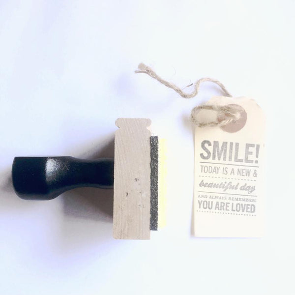Smile you are loved handmade wooden rubber stamp