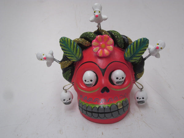 Frida day of the dead skull hand made clay art statue