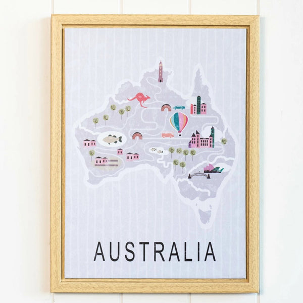 Cute illustrated Australia map framed print