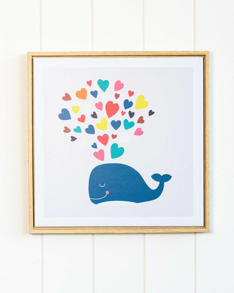 Whale of love framed print