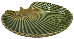 Green fan palm leaf trinket dish plate
