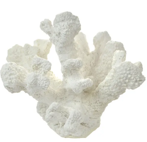 Beach house Hamptons white coral decor statue - various
