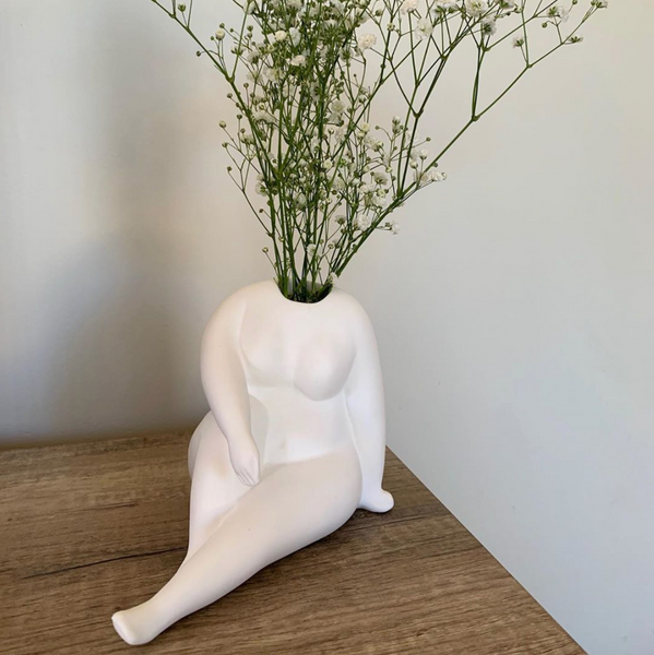Handmade cheeky nude white vase - preorder