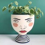 Load image into Gallery viewer, Off with your head Alice wonderland hand painted face vase planter pot