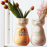 Load image into Gallery viewer, Mama bird / Papa bear hand painted face vase planter pot
