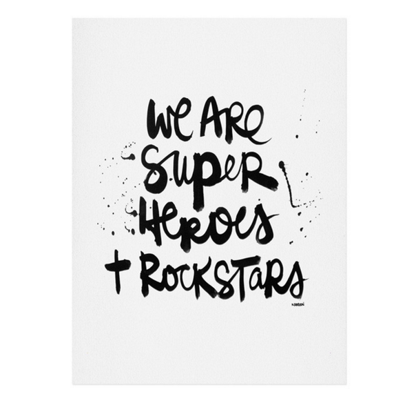 Superheroes and rockstars print - Six Things - 2