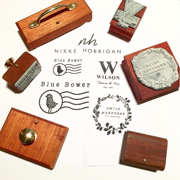 Custom made vintage style wooden stamp - business logo or wedding monogram - wood rubber stamp