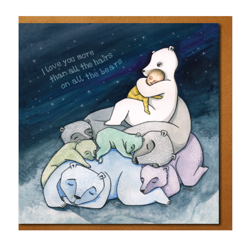 Love you more, hairs on bears greeting card