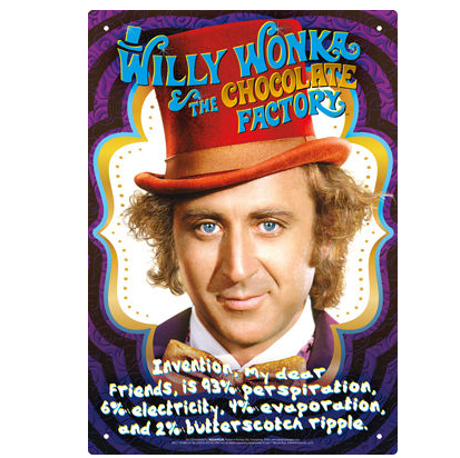 Willy wonka chocolate factory movie inspiration sign print