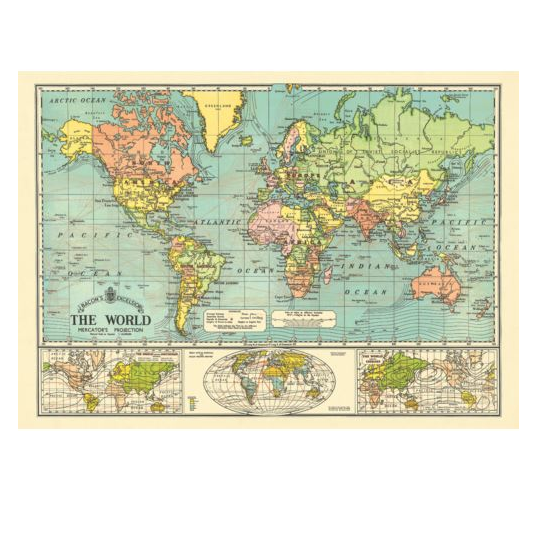 Projection the world map vintage chart poster print