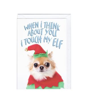 Touch My Elf christmas greeting card