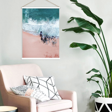 Surfs up pink sandy shore line hanging scroll poster print