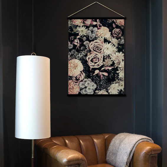 Dark florals hanging scroll poster print