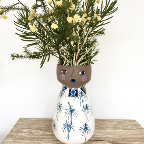 Tropical tribal bluebelle hand painted vase planter pot