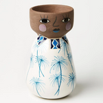 Load image into Gallery viewer, Tropical tribal bluebelle hand painted vase planter pot