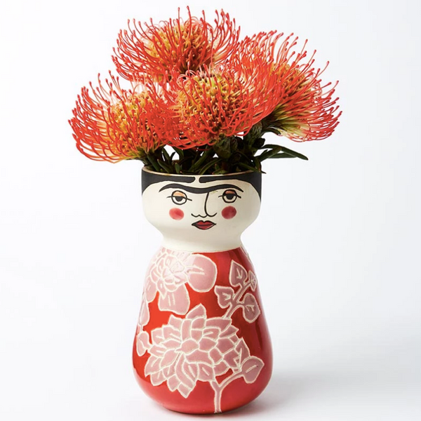 Boho Frida hand painted vase planter pot RED