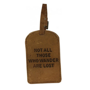Not all who wander leather luggage tag